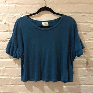 t.la turquoise blue top w/ ruffle sleeves XS